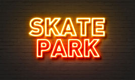 Skate park neon sign on brick wall background. Skate park neon sign on brick wall background Stock Photography