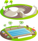 Skate Park and Pool Royalty Free Stock Photos