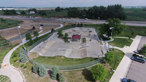 Skate Park at Sandstone Ranch 01. Aerial view of the skate park at Sandstone Ranch, Longmont, CO Stock Photos