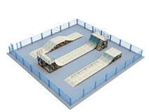 Skate park with several elements Stock Image