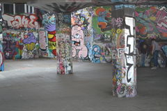 Skate Park South Bank Centre London Urban Art Street Art. The Skate Park at The South Bank in London. A space that has been adopted by skateboarders and by urban royalty free stock photography