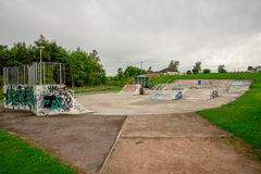 A skate park in Westfield park, Aberdeen, Scotland royalty free stock photos
