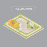 Skate roller arena. Flat 3d isometric. Teenagers on skateboard facility Stock Images