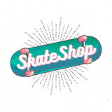 Skate Shop logo. Skate Shop lettering inside high detailed cartoon skateboard with sunburst on background Stock Image