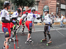 Skate Slalom European Cup. European Cup male and female of Skate Slalom in Genoa Italy (31, May 2009). Athletes from Italy, Germany, Sweden, Switzerland and royalty free stock image