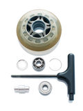 Skate wheel in parts. Roller skating wheel in parts and key isolated over white Stock Photos