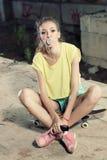 skateboard πλέγματος κοριτσιών διάνυσμα Στοκ Φωτογραφία