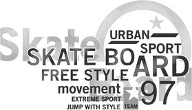 Skateboard σχέδιο κειμένων Στοκ φωτογραφία με δικαίωμα ελεύθερης χρήσης