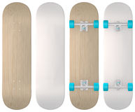Skateboard. Blank skateboard templates in wood, white and both styles with matching wheels and trucks. For rapid prototyping and measuring design dimensions Royalty Free Stock Images
