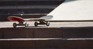 Skateboard. On top of a staircase Stock Photography