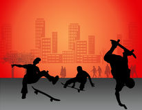 Skateboard. Boy silhouette background of city Royalty Free Stock Photos