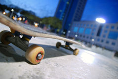 Skateboard. A skateboard in the background of the skate center in Tel-Aviv Royalty Free Stock Photos