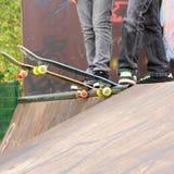 Skateboard. Er, in skate-park, ready to start skating Royalty Free Stock Photography