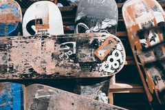Skateboard. Background from old and scratched boards skateboard Royalty Free Stock Photo