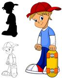 Skateboard Boy. Cool happy kid with skateboard in color, black and white and silhouette stock illustration
