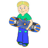 Skateboard boy illustration. Cartoon  character Royalty Free Stock Photo