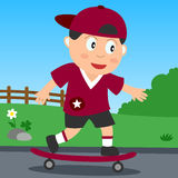 Skateboard Boy in the Park stock illustration