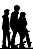 Skateboard Boys. Three boys look out over a skatepark with their skateboards in tow. Illustration Royalty Free Stock Image
