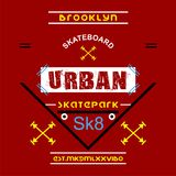 Skateboard/Brooklyn city/nyc Typography Design for t-shirt. Typography for t-shirt,vector illustration art,new design Stock Images