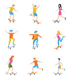 Skateboard characters set. People ride on a skateboard. Vector illustration in a flat style Royalty Free Stock Photos