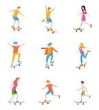 Skateboard characters set. Royalty Free Stock Photos