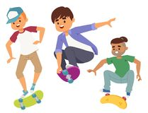 Skateboard characters vector stylish skating kids illustration skate cartoon male activity extreme skateboarding icon. Extreme activity speed child doodle stock illustration