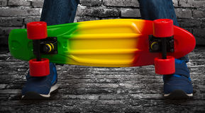 Skateboard closeup.Extreme sports. A boy with a skateboard.Extreme sports stock photos