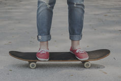 Skateboard Concrete Enjoy Jeans Exercise Play Concept Stock Images