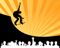 Skateboard contest show vector. Vectored illustration as silhouette of skateboard contest show with half pipe and crowd watching the performance of a skater Stock Image