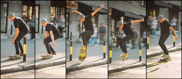 Skateboard curb and roadside street jump sequence. Freeride scho Royalty Free Stock Images