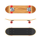 Skateboard Deck Side Bottom Realistic Illustration. Skateboard black deck top side and maple wood bottom views projections realistic on white background vector Stock Photos