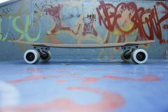 Skateboard. Detail of skateboard on the ground Royalty Free Stock Photography