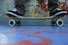 Skateboard. Detail of skateboard on the ground Royalty Free Stock Image