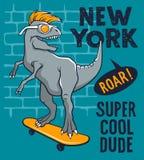 Skateboard 004. Dinosaur riding on skateboard. Vector illustration of a funny tyrannosaur with sunglasses. Skateboard typography for t-shirt. Athletic Tee vector illustration
