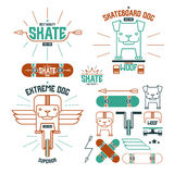Skateboard dog emblems and icons Stock Image