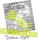 Skateboard fahren - städtische Art, Vektorillustration Stockbilder