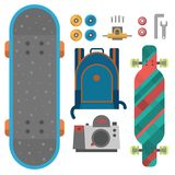 Skateboard fingerboard icon vector sport equipment skating transportation decorative speed freestyle leisure. Royalty Free Stock Images