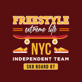 Skateboard graphic design for t-shirt. NYC independent team. Stock Photography