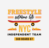 Skateboard graphic design for t-shirt. NYC independent team. Royalty Free Stock Image