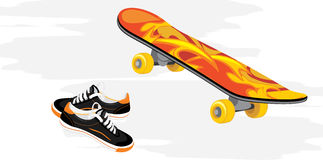 Skateboard and gumshoes. Recreation design Royalty Free Stock Image