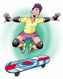 Skateboard Guy. Humorous illustration of a skateboarder leaping of his board Stock Photo