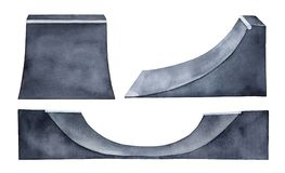 Skateboard half pipe illustration collection. royalty free stock image