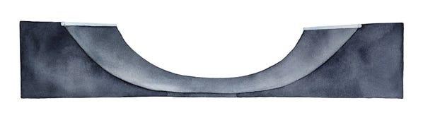 Skateboard Halfpipe κεκλιμένη ράμπα Ένα ενιαίο αντικείμενο, πλάγια όψη, ευρέως και κενός στοκ εικόνες