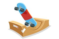 Skateboard halfpipe ramp field skate park sport cartoon isolated icon vector illustration Royalty Free Stock Photos