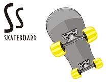 Skate and abc. Skateboard with his name and letters s Vector Illustration