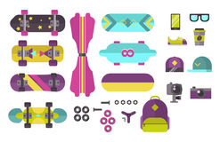 Skateboard icons vector set. Royalty Free Stock Photography