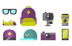 Skateboard icons vector set. Royalty Free Stock Photos