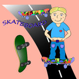 Skateboard illustration. Skateboard  illustration cartoon  character Stock Photos