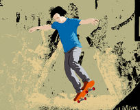 Skateboard jump. Young skateboarder jumping. Vector illustration with grunge background Stock Photography