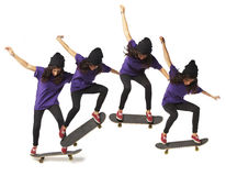 Skateboard jump sequence woman isolated Stock Image